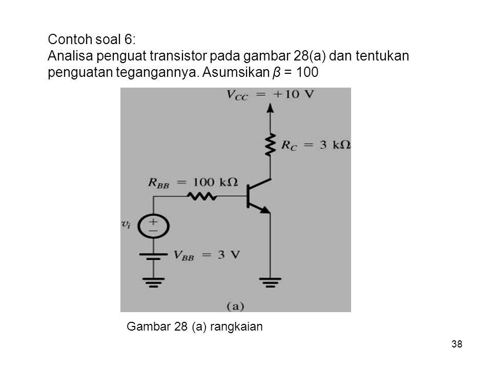 38 Contoh soal 6: Analisa penguat transistor pada gambar 28(a) dan tentukan penguatan tegangannya. Asumsikan β = 100 Gambar 28 (a) rangkaian