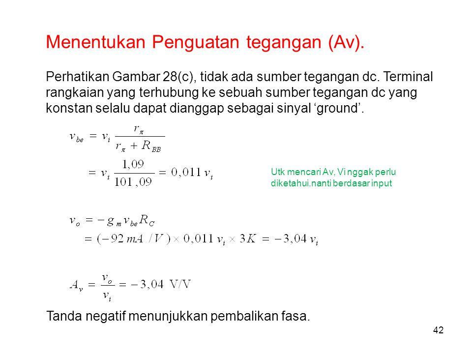 42 Menentukan Penguatan tegangan (Av). Perhatikan Gambar 28(c), tidak ada sumber tegangan dc. Terminal rangkaian yang terhubung ke sebuah sumber tegan