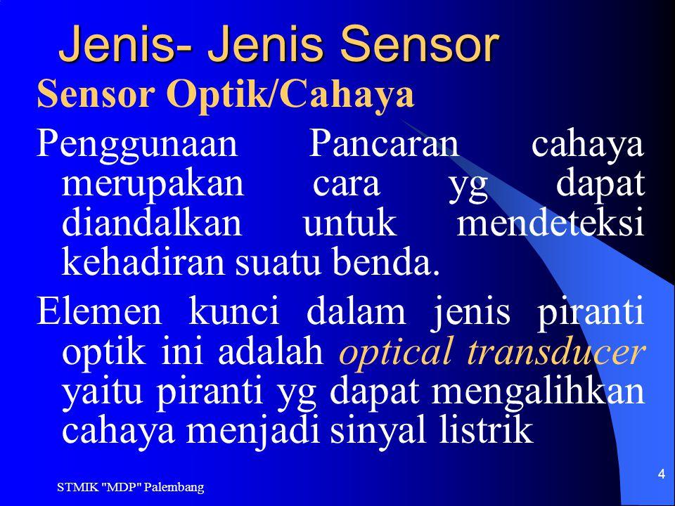 STMIK MDP Palembang 25 Aktuator Aktuator didefinisikan sebagai translasi dari sinyal kontrol kedalam aksi pengontrolan.
