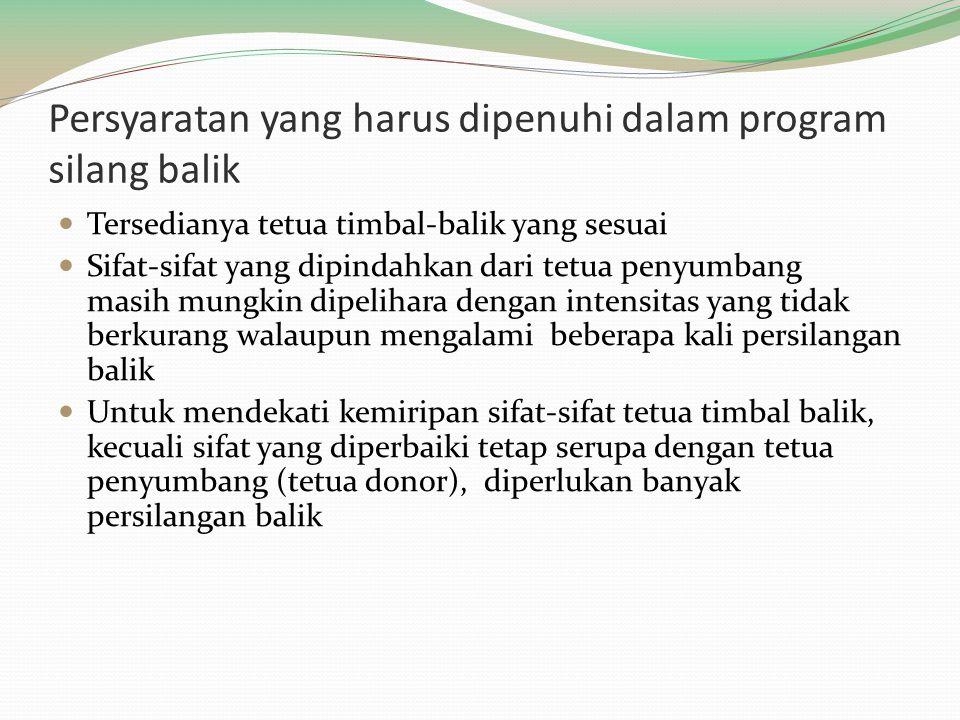 Persyaratan yang harus dipenuhi dalam program silang balik Tersedianya tetua timbal-balik yang sesuai Sifat-sifat yang dipindahkan dari tetua penyumba