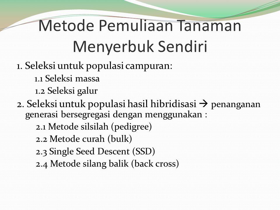 Metode Pemuliaan Tanaman Menyerbuk Sendiri 1. Seleksi untuk populasi campuran: 1.1 Seleksi massa 1.2 Seleksi galur 2. Seleksi untuk populasi hasil hib
