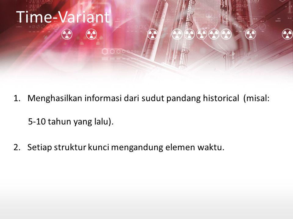 Time-Variant 1.Menghasilkan informasi dari sudut pandang historical (misal: 5-10 tahun yang lalu).