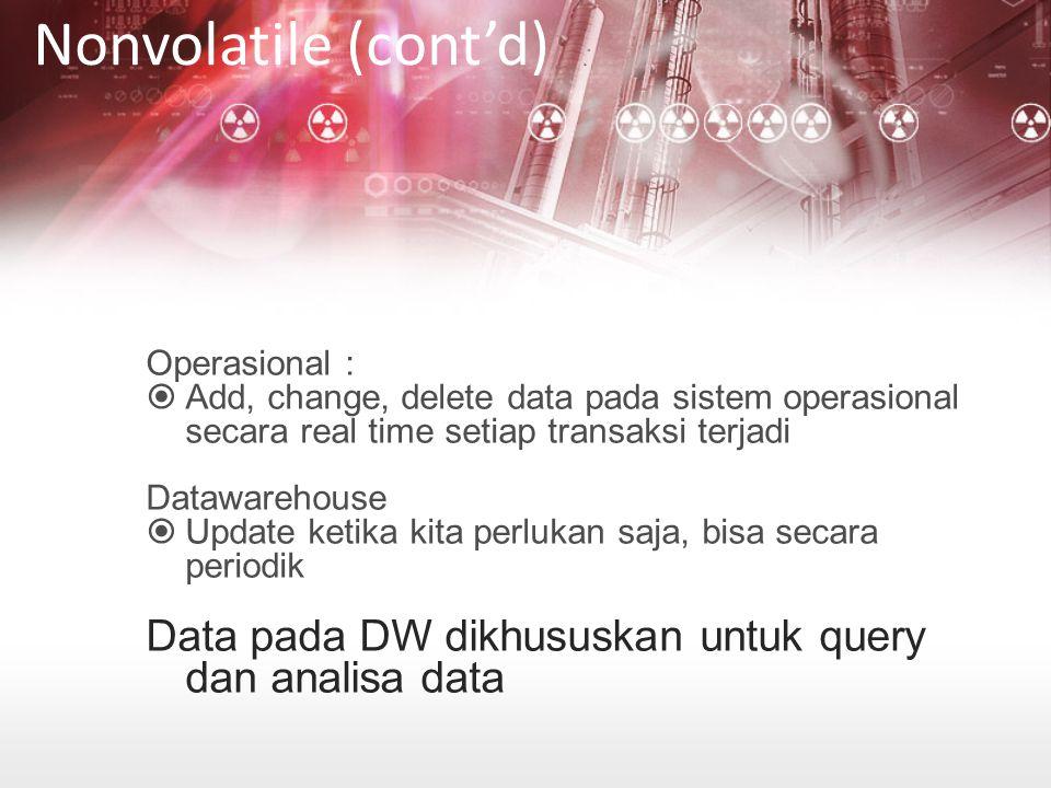 Operasional :  Add, change, delete data pada sistem operasional secara real time setiap transaksi terjadi Datawarehouse  Update ketika kita perlukan saja, bisa secara periodik Data pada DW dikhususkan untuk query dan analisa data Nonvolatile (cont'd)