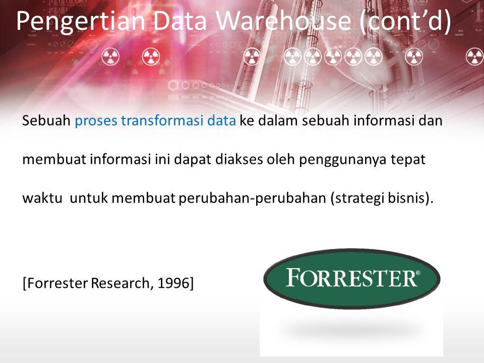 Operasional : –Data pada saat ini (current value) Datawarehouse : –Analisa data pada masa lampau –Informasi pada saat ini –Forecast untuk masa yang akan datang Time-Variant (cont'd)