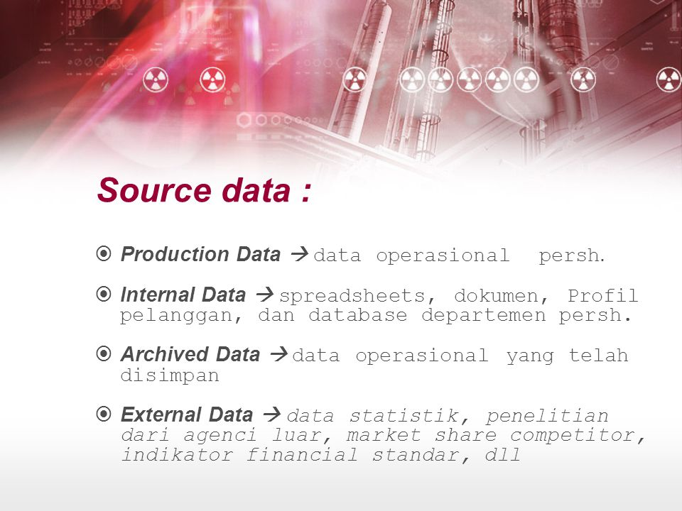  Production Data  data operasional persh.  Internal Data  spreadsheets, dokumen, Profil pelanggan, dan database departemen persh.  Archived Data