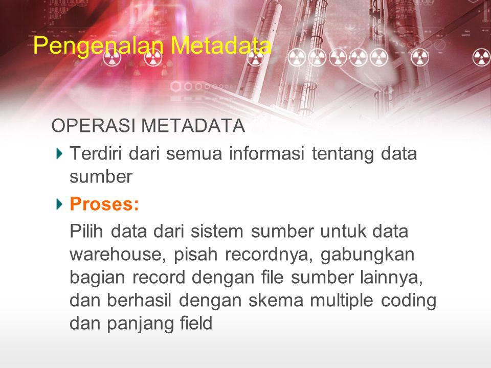 Pengenalan Metadata OPERASI METADATA Terdiri dari semua informasi tentang data sumber Proses: Pilih data dari sistem sumber untuk data warehouse, pisah recordnya, gabungkan bagian record dengan file sumber lainnya, dan berhasil dengan skema multiple coding dan panjang field