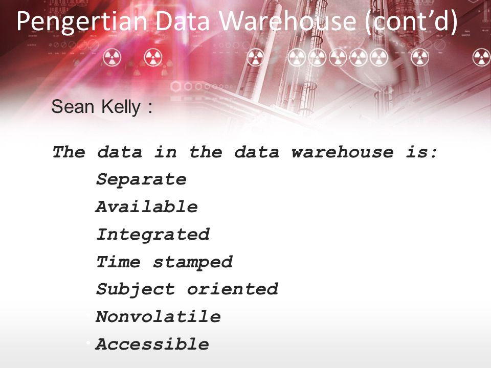 Metadata –Informasi tentang logical struktur data –Informasi file dan alamatnya –Informasi index –Dll Intinya –Meta data = data mengenai data pada data warehouse