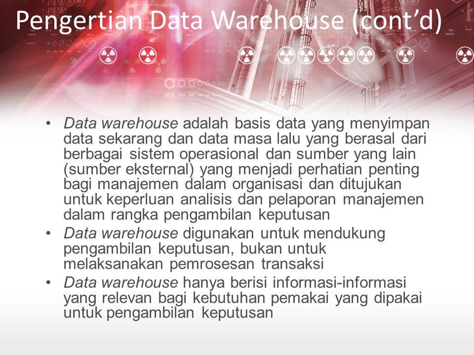 Data warehouse adalah basis data yang menyimpan data sekarang dan data masa lalu yang berasal dari berbagai sistem operasional dan sumber yang lain (sumber eksternal) yang menjadi perhatian penting bagi manajemen dalam organisasi dan ditujukan untuk keperluan analisis dan pelaporan manajemen dalam rangka pengambilan keputusan Data warehouse digunakan untuk mendukung pengambilan keputusan, bukan untuk melaksanakan pemrosesan transaksi Data warehouse hanya berisi informasi-informasi yang relevan bagi kebutuhan pemakai yang dipakai untuk pengambilan keputusan Pengertian Data Warehouse (cont'd)