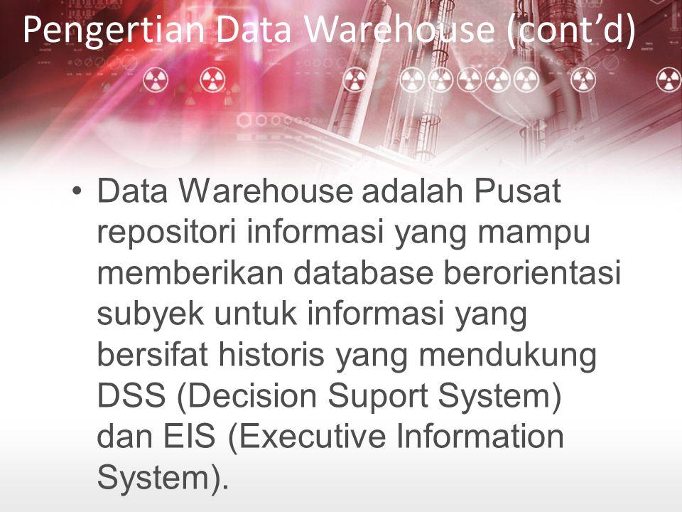 Data Warehouse adalah Pusat repositori informasi yang mampu memberikan database berorientasi subyek untuk informasi yang bersifat historis yang mendukung DSS (Decision Suport System) dan EIS (Executive Information System).