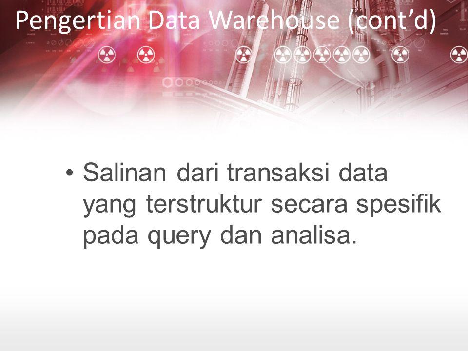 Pengenalan Metadata EXTRAKSI DAN INFORMASI METADATA Terdiri dari data dari data extraksi data dari sistem sumber, yaitu:  Extraction frequencies  Extraction method  Business rules untuk data extraction