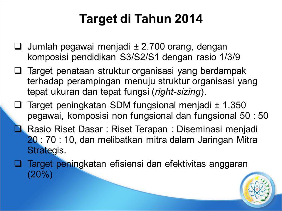 Target di Tahun 2014  Jumlah pegawai menjadi ± 2.700 orang, dengan komposisi pendidikan S3/S2/S1 dengan rasio 1/3/9  Target penataan struktur organisasi yang berdampak terhadap perampingan menuju struktur organisasi yang tepat ukuran dan tepat fungsi (right-sizing).
