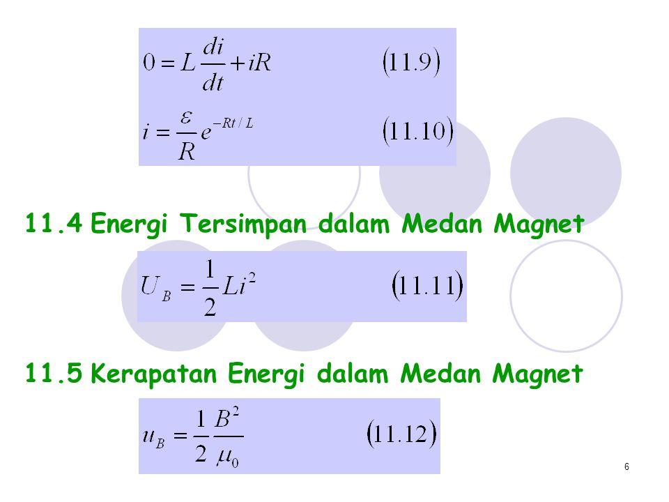 6 11.4Energi Tersimpan dalam Medan Magnet 11.5Kerapatan Energi dalam Medan Magnet