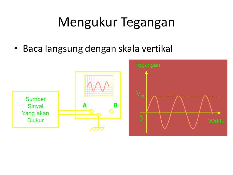 Mengukur Tegangan Baca langsung dengan skala vertikal AB Sumber Sinyal Yang akan Diukur Tegangan Waktu VmVm 0