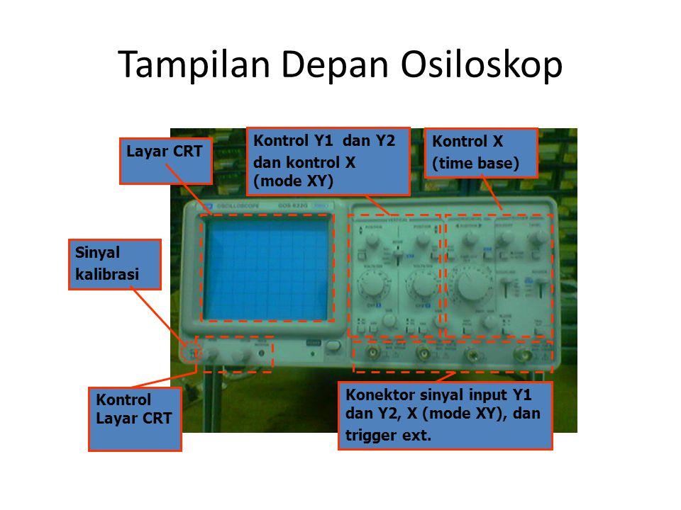 Tampilan Depan Osiloskop Layar CRT Kontrol Layar CRT Kontrol Y1 dan Y2 dan kontrol X (mode XY) Kontrol X (time base) Sinyal kalibrasi Konektor sinyal