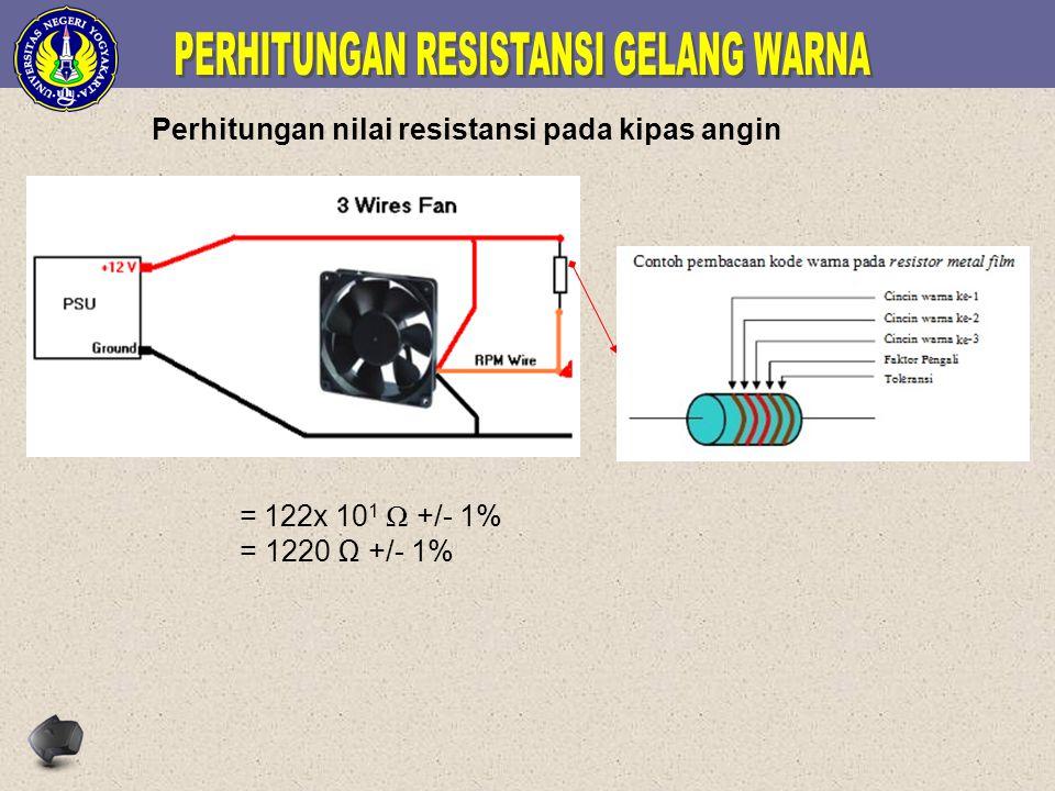 Perhitungan nilai resistansi pada kipas angin = 122x 10 1 Ω +/- 1% = 1220 Ω +/- 1%