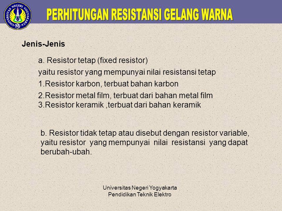 Universitas Negeri Yogyakarta Pendidikan Teknik Elektro Jenis-Jenis a. Resistor tetap (fixed resistor) yaitu resistor yang mempunyai nilai resistansi