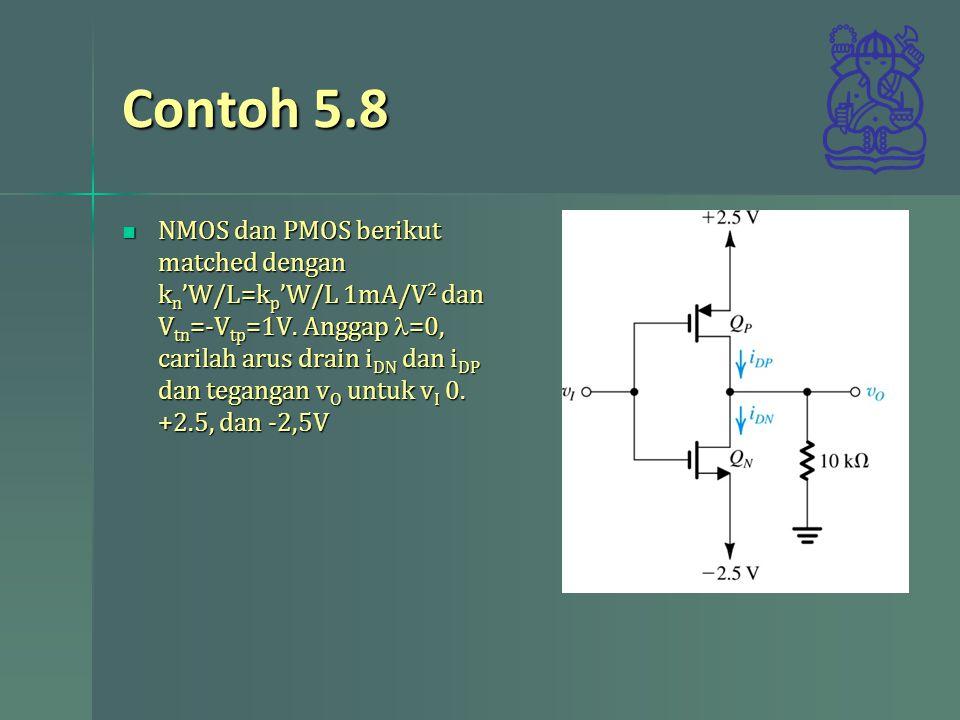 Contoh 5.8 NMOS dan PMOS berikut matched dengan k n 'W/L=k p 'W/L 1mA/V 2 dan V tn =-V tp =1V. Anggap =0, carilah arus drain i DN dan i DP dan teganga