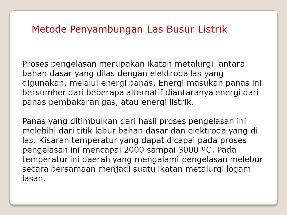 Metode Penyambungan Las Busur Listrik Proses pengelasan merupakan ikatan metalurgi antara bahan dasar yang dilas dengan elektroda las yang digunakan,
