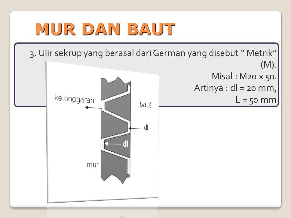 """MUR DAN BAUT 3. Ulir sekrup yang berasal dari German yang disebut """" Metrik"""" (M). Misal : M20 x 50. Artinya : dl = 20 mm, L = 50 mm"""