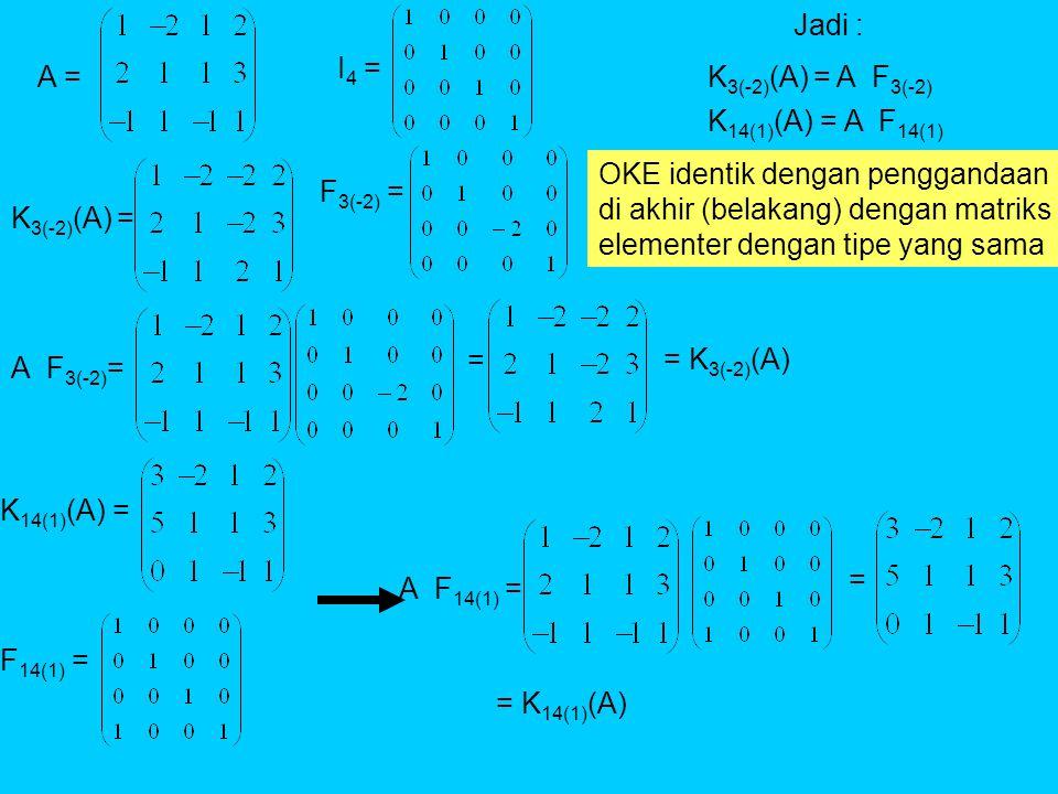 A = K 3(-2) (A) = I 4 = F 3(-2) = A F 3(-2) = = K 14(1) (A) = F 14(1) = A F 14(1) = = = K 3(-2) (A) = K 14(1) (A) Jadi : K 3(-2) (A) = A F 3(-2) K 14(1) (A) = A F 14(1) OKE identik dengan penggandaan di akhir (belakang) dengan matriks elementer dengan tipe yang sama