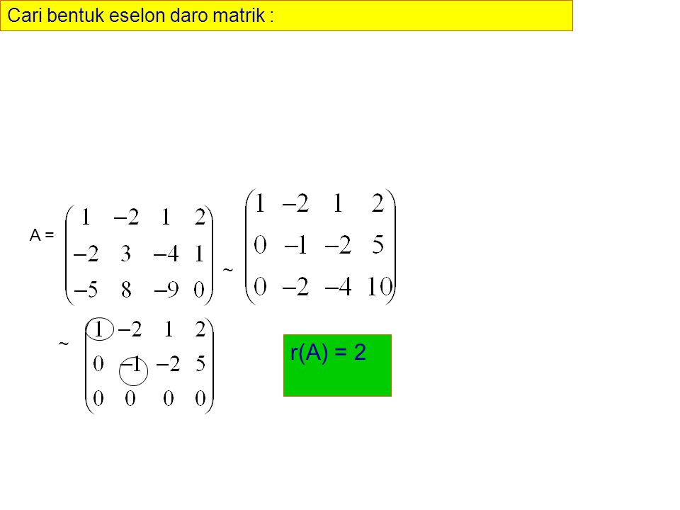 Cari bentuk eselon daro matrik : A = ~ ~ r(A) = 2