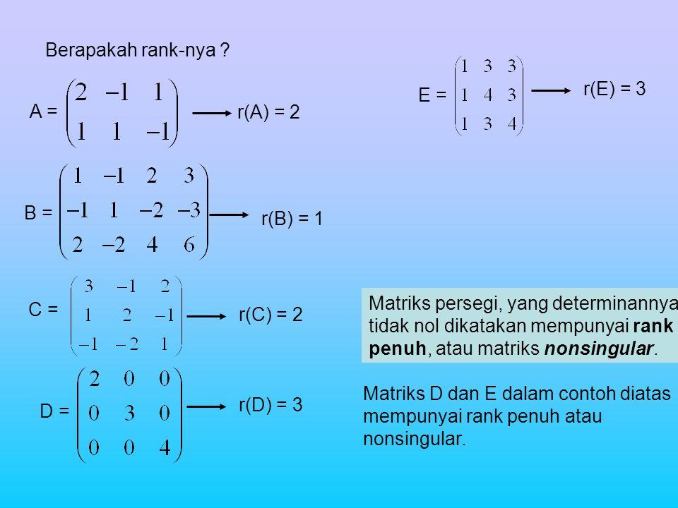 Berapakah rank-nya ? A = B = C = D = E = Matriks persegi, yang determinannya tidak nol dikatakan mempunyai rank penuh, atau matriks nonsingular. Matri