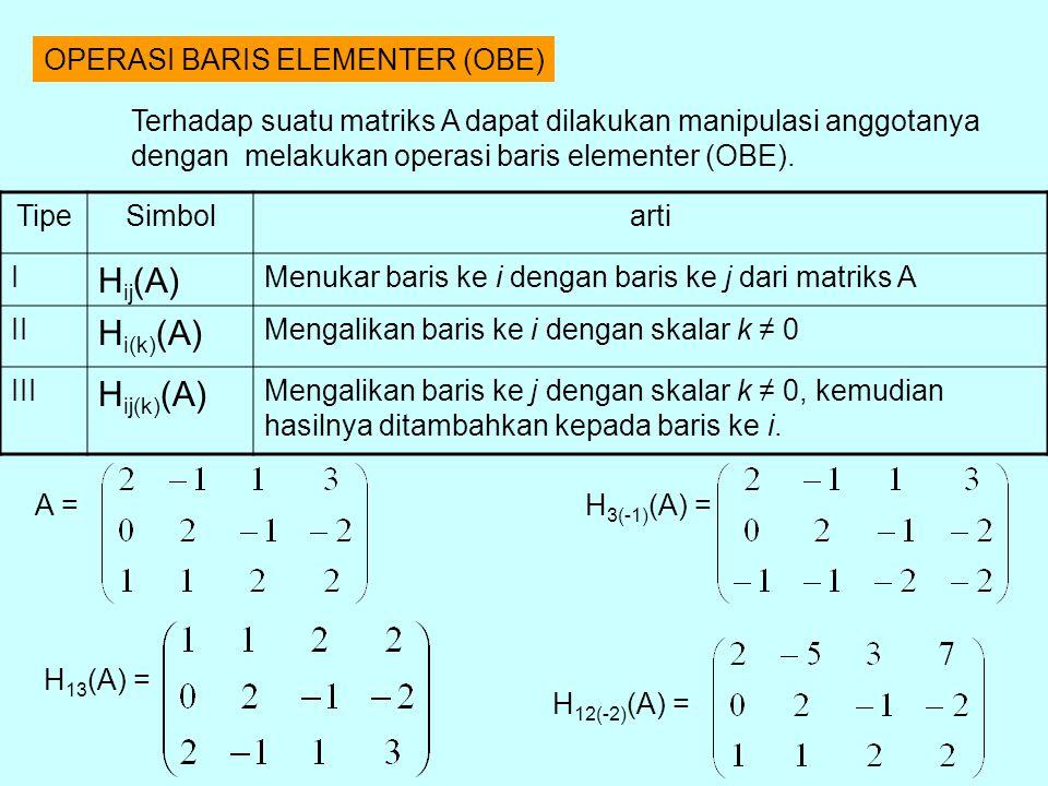 OPERASI BARIS ELEMENTER (OBE) TipeSimbolarti I H ij (A) Menukar baris ke i dengan baris ke j dari matriks A II H i(k) (A) Mengalikan baris ke i dengan skalar k ≠ 0 III H ij(k) (A) Mengalikan baris ke j dengan skalar k ≠ 0, kemudian hasilnya ditambahkan kepada baris ke i.