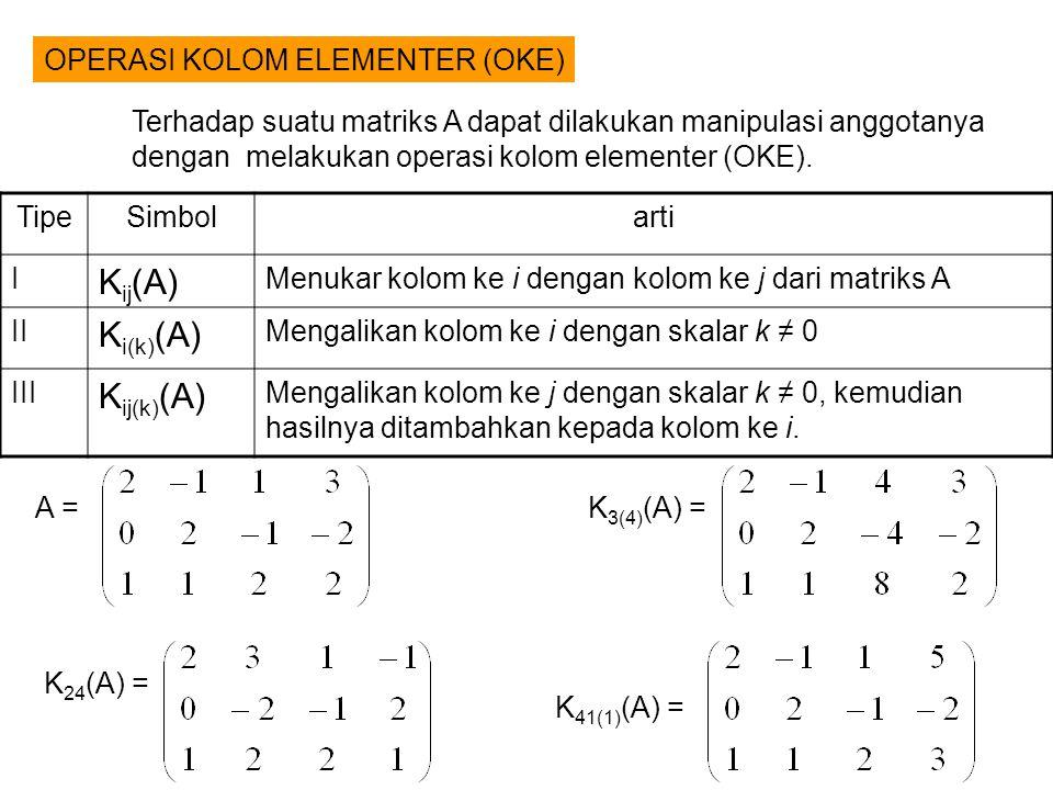OPERASI KOLOM ELEMENTER (OKE) TipeSimbolarti I K ij (A) Menukar kolom ke i dengan kolom ke j dari matriks A II K i(k) (A) Mengalikan kolom ke i dengan skalar k ≠ 0 III K ij(k) (A) Mengalikan kolom ke j dengan skalar k ≠ 0, kemudian hasilnya ditambahkan kepada kolom ke i.