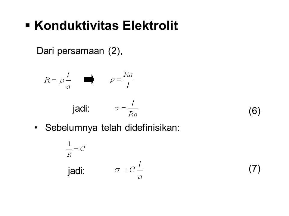 Dari persamaan (2), jadi:  Konduktivitas Elektrolit Sebelumnya telah didefinisikan: jadi: (6) (7)