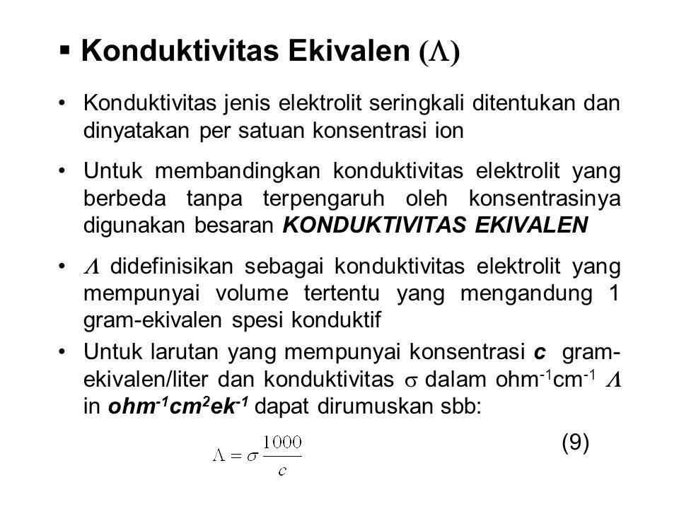 Konduktivitas jenis elektrolit seringkali ditentukan dan dinyatakan per satuan konsentrasi ion Untuk membandingkan konduktivitas elektrolit yang berbe