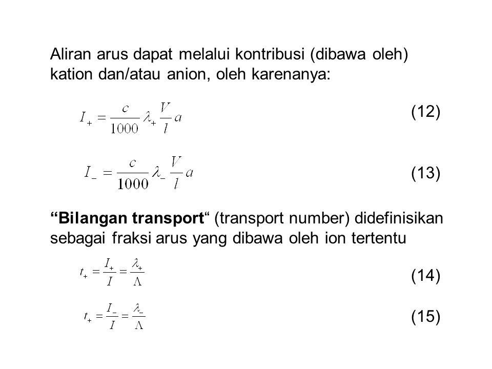 """Aliran arus dapat melalui kontribusi (dibawa oleh) kation dan/atau anion, oleh karenanya: (12) (13) """"Bilangan transport"""" (transport number) didefinisi"""