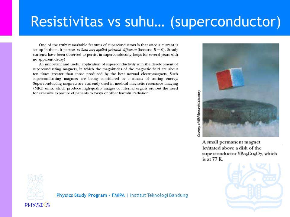 Physics Study Program - FMIPA | Institut Teknologi Bandung PHYSI S Resistivitas vs suhu… Ada beberapa logam atau senyawa yang resistansinya turun dras