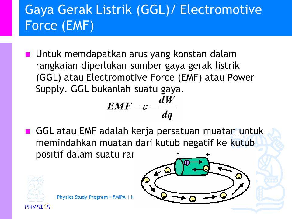 Physics Study Program - FMIPA | Institut Teknologi Bandung PHYSI S Pembawa muatan lebih dari satu jenis * Medan listrik menghasilkan gaya listrik pada