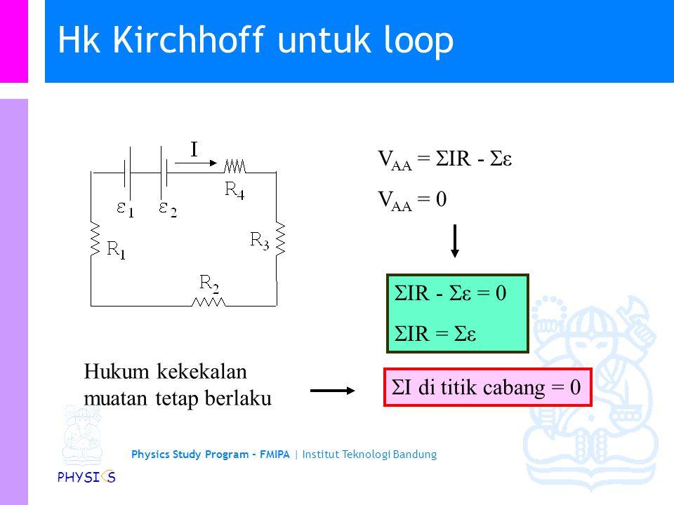 Physics Study Program - FMIPA | Institut Teknologi Bandung PHYSI S Hukum II Kirchhoff: Kekekalan Energi Pada baterei, tegangan di kutub positif selalu