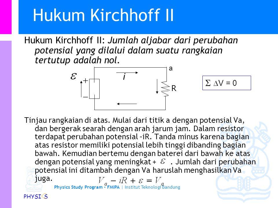 Physics Study Program - FMIPA | Institut Teknologi Bandung PHYSI S Arus dalam loop tunggal… Dari prinsip kekekalan energi: Sehingga diperoleh: