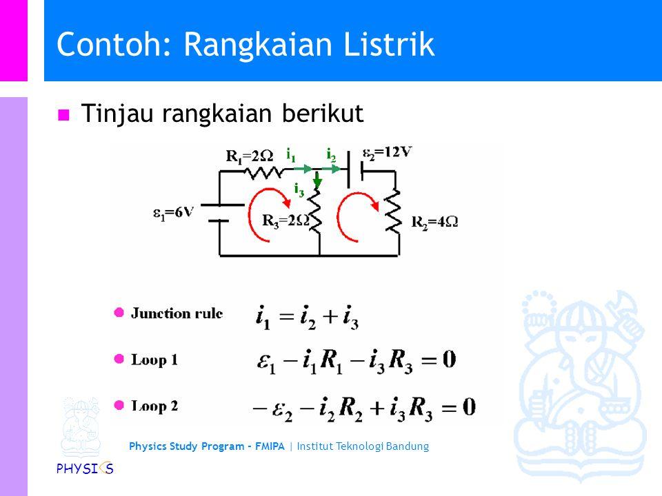 Physics Study Program - FMIPA | Institut Teknologi Bandung PHYSI S Hukum Kirchhoff II… Diperoleh: Sehingga: (Hukum Kirchhoff II) Ketentuan dalam mener