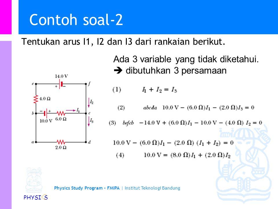 Physics Study Program - FMIPA | Institut Teknologi Bandung PHYSI S Contoh soal-1 Suatu loop tunggal terdiri dari 2 resistor dan 2 baterei seperti pada