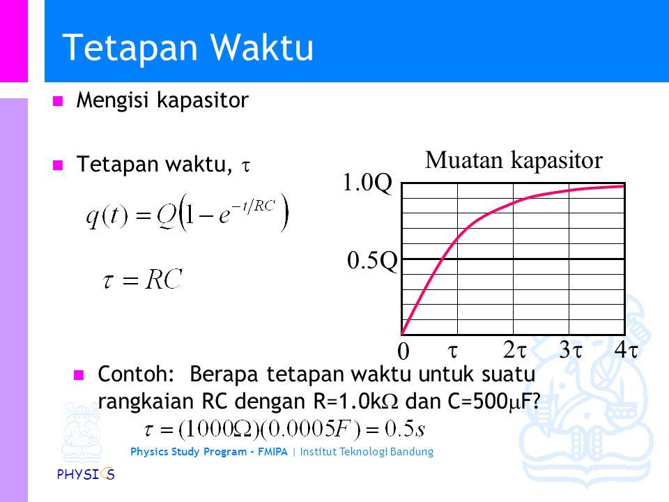 Physics Study Program - FMIPA | Institut Teknologi Bandung PHYSI S Rangkaian RC … Besaran RC dikenal sebagai tetapan waktu kapasitif,  c.   Vc VRVR