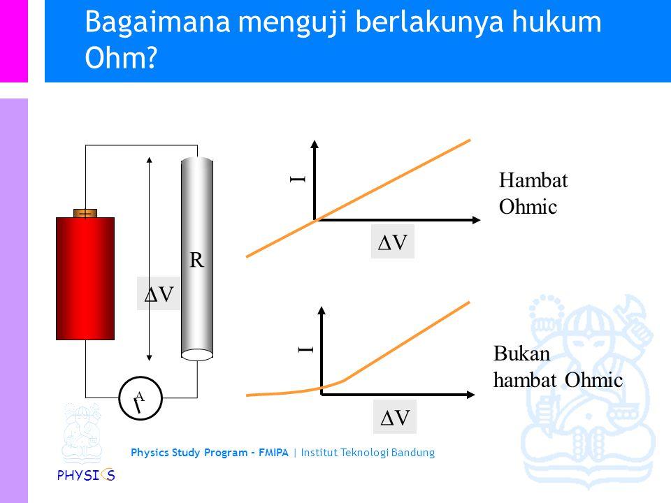 Physics Study Program - FMIPA | Institut Teknologi Bandung PHYSI S Color Code Resistors mempunyai 4 pita warna untuk menyatakan nilai hambatannya 1st