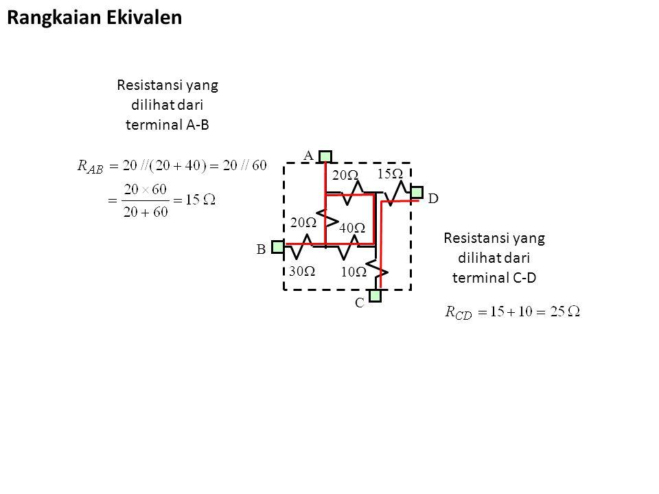 Rangkaian Ekivalen Resistansi yang dilihat dari terminal C-D Resistansi yang dilihat dari terminal A-B 30  20  15  40  10  A B C D