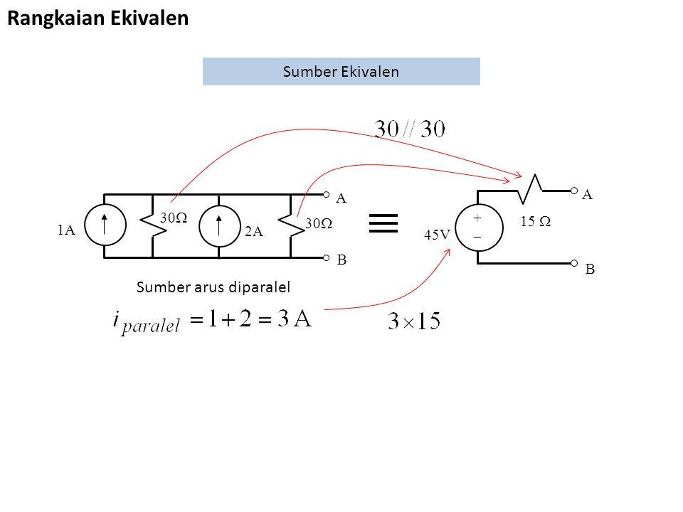 2A 30  A B 1A Rangkaian Ekivalen Sumber Ekivalen 45V 15  A B ++ Sumber arus diparalel