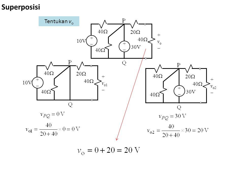 Superposisi ++ + v o  ++ 40  20  40  10V 30V ++ + v o1  40  20  40  10V Tentukan v o + v o2  ++ 40  20  40  30V