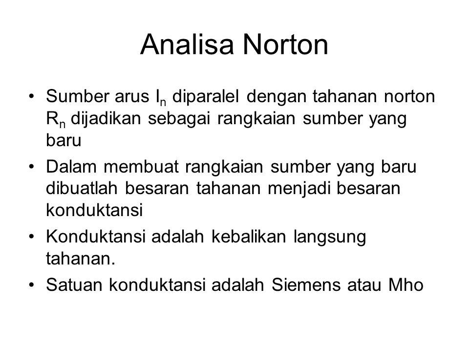 Analisa Norton Sumber arus I n diparalel dengan tahanan norton R n dijadikan sebagai rangkaian sumber yang baru Dalam membuat rangkaian sumber yang ba