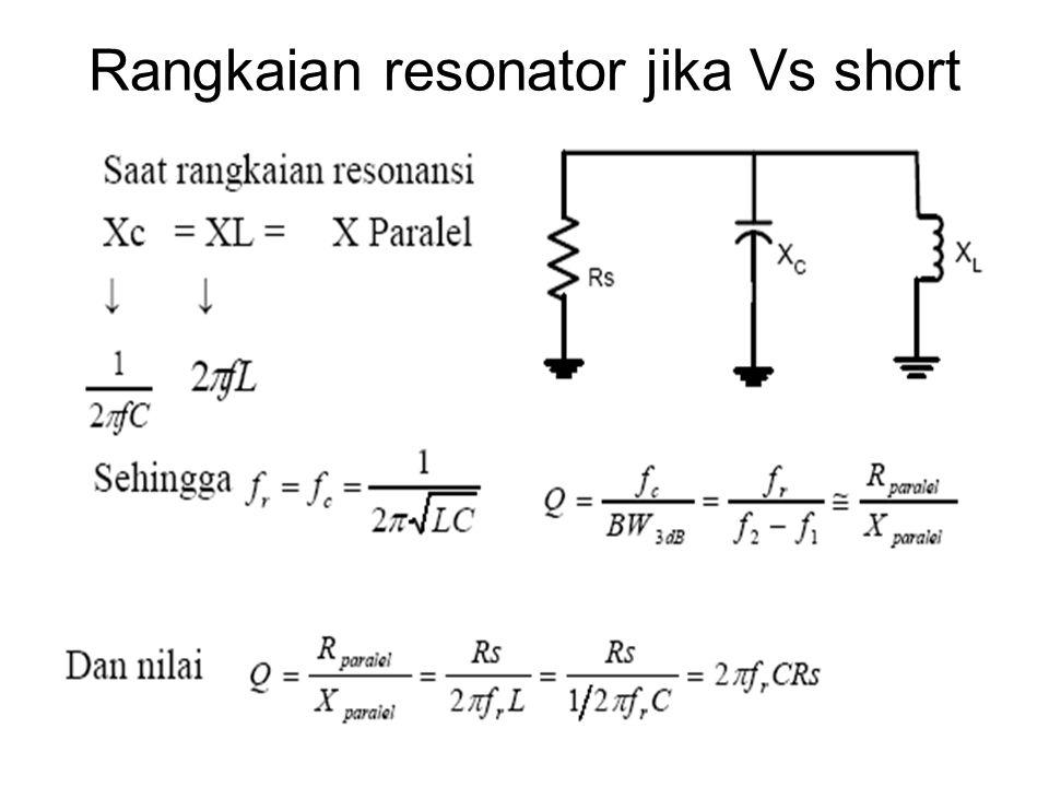 Rangkaian resonator jika Vs short