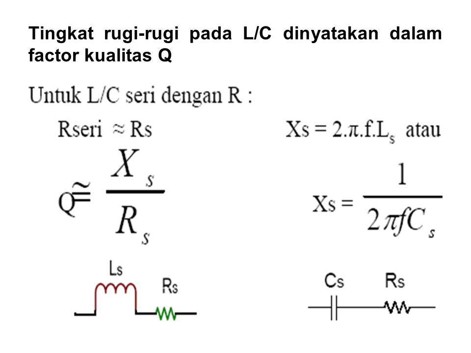 Tingkat rugi-rugi pada L/C dinyatakan dalam factor kualitas Q