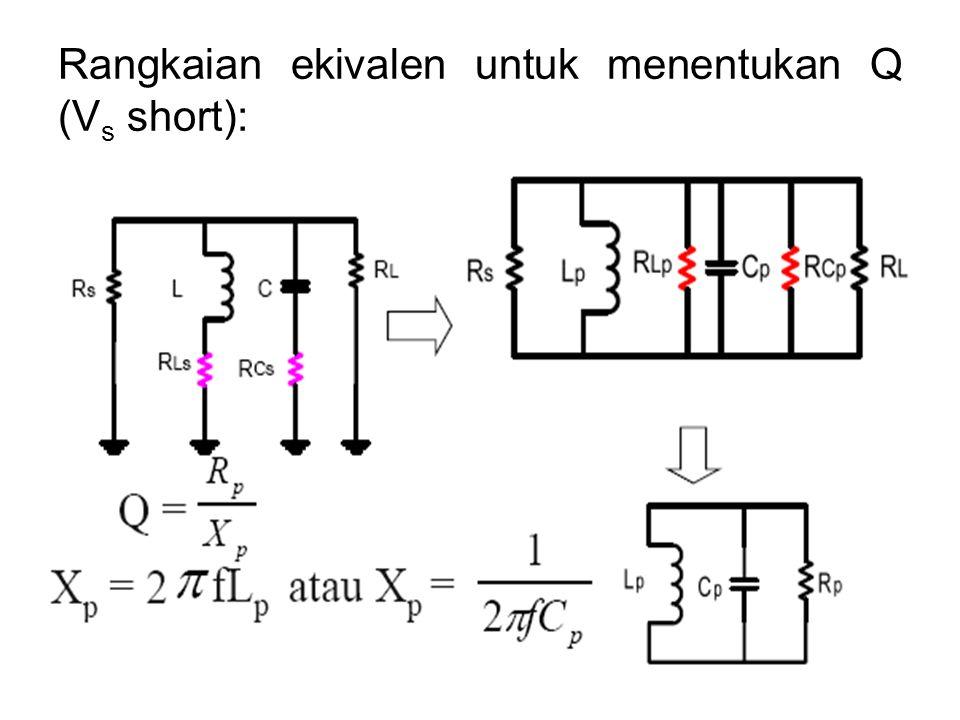 Rangkaian ekivalen untuk menentukan Q (V s short):