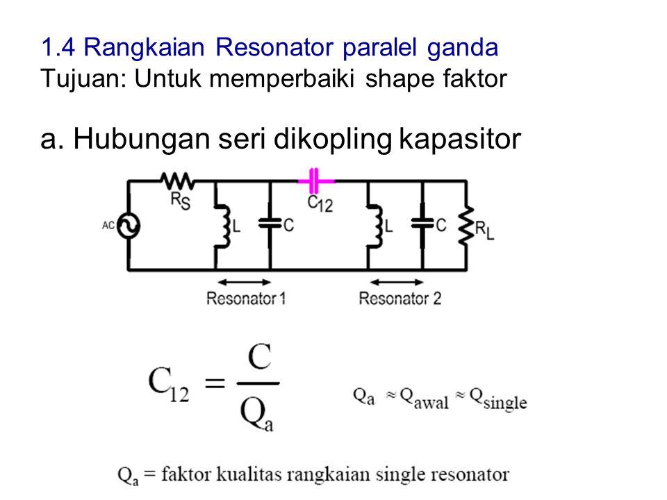 1.4 Rangkaian Resonator paralel ganda Tujuan: Untuk memperbaiki shape faktor a. Hubungan seri dikopling kapasitor