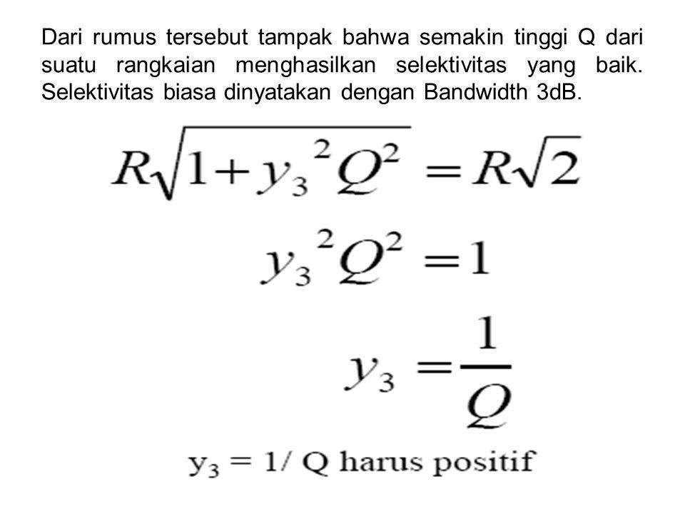 Dari rumus tersebut tampak bahwa semakin tinggi Q dari suatu rangkaian menghasilkan selektivitas yang baik. Selektivitas biasa dinyatakan dengan Bandw