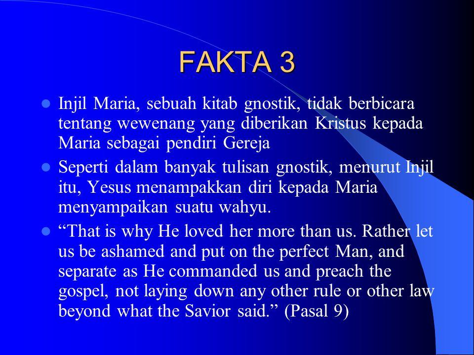 FAKTA 3 Injil Maria, sebuah kitab gnostik, tidak berbicara tentang wewenang yang diberikan Kristus kepada Maria sebagai pendiri Gereja Seperti dalam banyak tulisan gnostik, menurut Injil itu, Yesus menampakkan diri kepada Maria menyampaikan suatu wahyu.