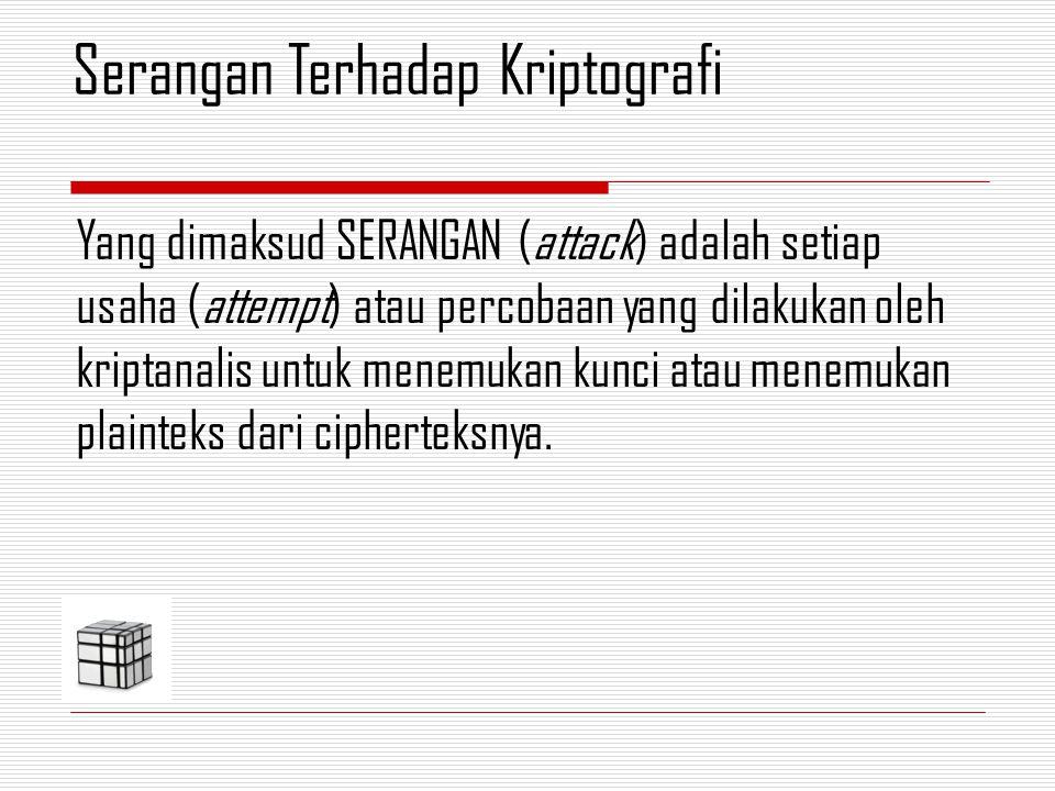 Kriptanalisis : memecahkan cipherteks menjadi plainteks tanpa mengetahui kunci yang digunakan.